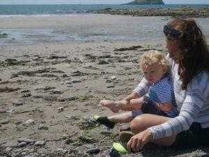Mum and son on beach